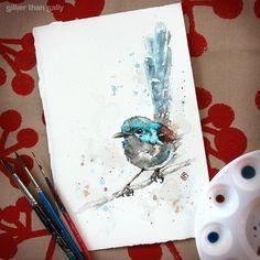 water colour art, fairy-Wren, Variegated fairy-wren, bird art, whimsical, cute, blue, Sillier Than Sally Art