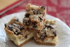 Chocolate Chip and Toffee Cookie Dough Cheesecake Bars - mmm!!