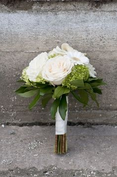 like how this is a smaller arrangement, and like the leaves! maybe swap out the rose for peony