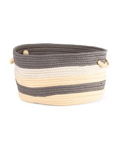 image of Made In Usa Stripe Rope Basket
