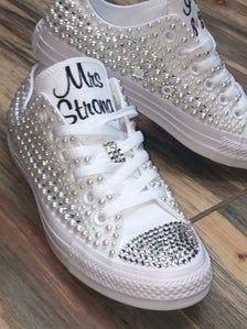 Bedazzled Converse, Bride Converse, Rhinestone Converse, Converse Wedding Shoes, Groom Shoes, Wedding Sneakers, Wedge Wedding Shoes, Converse Low, Bridal Shoes