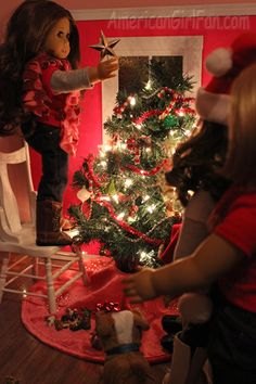 At American Girl Fan, the doll decorated their Christmas tree!