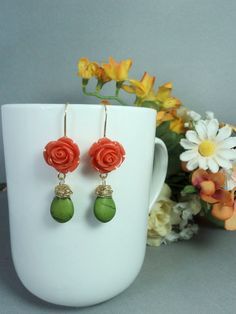 Flower and leaf long dangle earrings with wire by AlcazarDesigns
