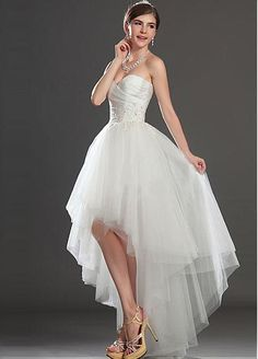 Stunning Tulle & Satin Princess Sweetheart Raised Waisted Asymmetrical Wedding Dress
