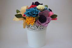 Small Felt flower bouquet centerpiece wedding by Mammacraftshop