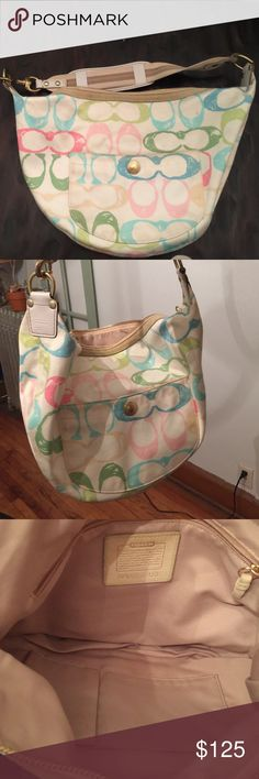 Coach vintage mint condition Multi-colored coach medium duffle used once! Coach Bags Satchels