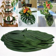"""Universe of goods - Buy Green Jungle Plant Artificial Leaf Tropical Palm Leaves Island Style Simulation Plant Wedding Party Table Home Decor"""" for only USD. Diy Party Table Decorations, Decoration Evenementielle, Hawaiian Party Decorations, Hawaiian Luau Party, Hawaiian Decor, Beach Party Decor, Diy Safari Decorations, Table Party, Wedding Decoration"""