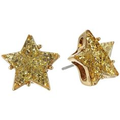 Betsey Johnson Gold Star Glitter Stud Earrings (Gold) Earring (95 ILS) ❤ liked on Polyvore featuring jewelry, earrings, gold colored earrings, gold tone earrings, yellow gold stud earrings, stud earrings and glitter stud earrings