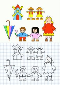 Cornicette varie … Graph Paper Drawings, Graph Paper Art, Easy Drawings, Drawing For Kids, Art For Kids, Blackwork Embroidery, Coding For Kids, Drawing Lessons, Colorful Pictures