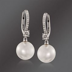 Mikimoto 11mm A South Sea Pearl And 54 Ct T W Diamond Earrings In 18kt White Gold