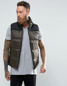 Schott Nylon Puffer Vest Slim Fit in Green/Black - Green
