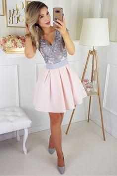 Sukienka różowo-szara bombka rozkloszowana tiul Lace Party Dresses, A Line Prom Dresses, Mermaid Prom Dresses, Homecoming Dresses, Evening Dresses, Dress Party, Pink Satin, Pink Lace, Dress For You