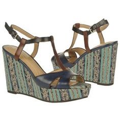 Naturalizer Sherrie Wedge Heels Womens Blue Leather - ONLY $88.99.