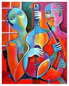 Reserved to Sophia Abstract Modern Large Original Acrylic painting on canvas Marlina Vera Jazz Musicians Fine Art Gallery Cubist Paintings, Cubist Art, Original Paintings, Abstract Art, Pokemon Painting, Art Visage, Modern Artwork, Fine Art Gallery, Acrylic Painting Canvas