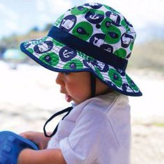Navy & Green Baby Boy Whale Sun Hat #Melondipity