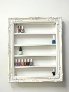Gorgeous way to organizer and display your precious nail polish collection. Holds anywhere from 60-80 polishes, depending on polish size.  The displays come ready to hang, just add a screws on your wall. For extra support, you can attach L brackets. Please use your better judgement when hanging, keep away from childrens reach. A beautiful display is essential for your business, and these unique handmade displays will add great character to your place of business, your home, your office, your…