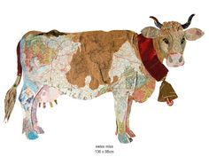 Cow collage made from recycled paper by Peter clark