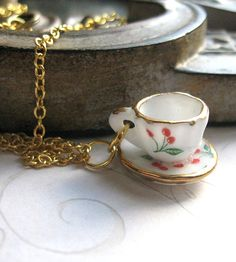 Tiny Porcelain Tea Cup Necklace   Jewelry Necklaces   Botanical Bird   Scoutmob Shoppe   Product Detail