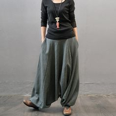 Women  autumn and winter cotton linen thickened pants - Buykud  - 1
