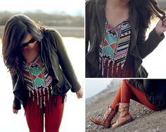 Olive Ruffle Lined Cardigan, Tribal Cutout Crop Top, Camel Belted Combat Boots, Burnt Orange High Waisted Jeans