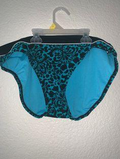 Vitamin A Women/'s L 10 Navy White String Swimsuit Bikini Bottom Side Tie
