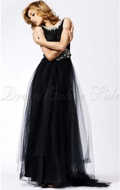Casual Sheath Floor-length Scoop Black Organza Dress