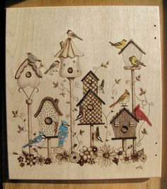 Birdies pyrography by Corby on a 3 ring wood binder/album
