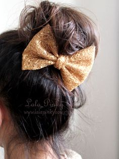 Gold glitter hair bow. Big hair bow. Cute gold by lalapinkybow, $4.99