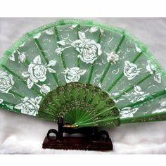 A Lot of 3 White Rosette Green Lace Wedding Bridal Ball Hand Fan Fans SKU-11213090