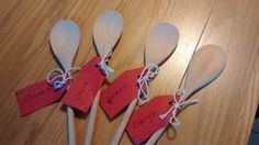 Wooden spoon place settings (after use so a bit mucky!)
