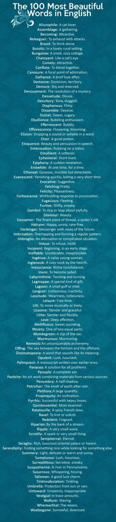 Full disclosure, I pinned this because the first word means Cat-Lover~ The 100 most beautiful words in English