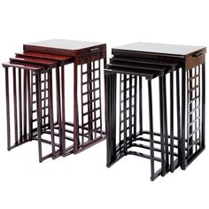 Josef Hoffmann / J. & J. Kohn / A pair of nesting tables with square lattice | From a unique collection of antique and modern nesting tables and stacking tables at http://www.1stdibs.com/furniture/tables/nesting-tables-stacking-tables/