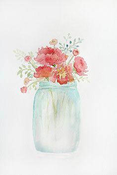 Pink peonies in blue jar Canvas Print