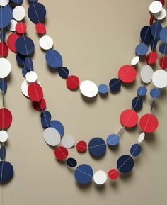Red, white and blue circle garland . love it for my of July coat . Fourth Of July Decor, 4th Of July Celebration, 4th Of July Decorations, 4th Of July Party, July 4th, July Crafts, Diy And Crafts, Usa Party, Circle Garland
