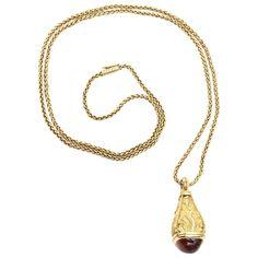 European Antique Amulet Citrine Diamond Drop Pendant Necklace 1