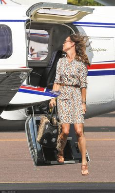 Pippa turned her head as she got off the plane to reveal a simple pair of gold earrings...