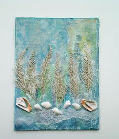Mixed Media Ocean Collage Art Painting on by RobinsArtAndDesign
