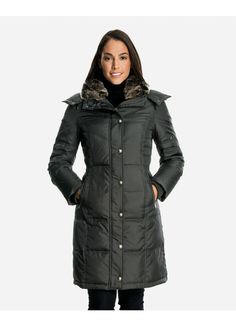 Isabel Quilted Down Coat with Faux Fur-Trimmed Collar & Detachable Hood