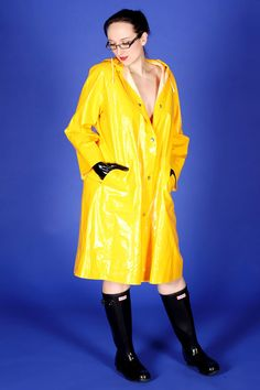 Shiny Days, Yellow Raincoat, Rain Wear, Cloths, Riding Boots, Women Wear, Kitty, Sexy, How To Wear