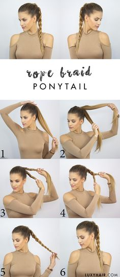 Back to school hairstyle how to do a rope braid ponytail