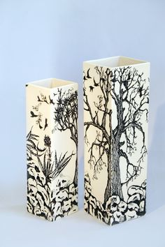 """Eunice Botes Ceramics """"Trees on the rocks"""" White porcelain with sqraffito and slightly modelled rocks"""