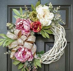 Spring/summer wreath with white vine wreath base