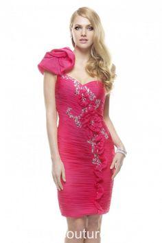 Neon Pink Chiffon Prom Dress