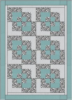 Quilt Patterns With 3 Fabrics : 3 yard quilt patterns free KHDesigns Patterns - Three Yard Throw pattern - Bay Window Quilt ...