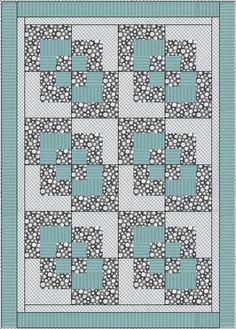 Quilt Patterns With 3 Fabrics : 3 yard quilt patterns free KHDesigns Patterns - Three Yard Throw pattern - Bay Window Quilt ...