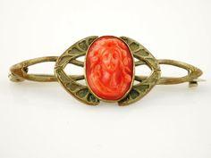 SALE Carved Coral Bronze Brooch  Art Nouveau by VintageParis