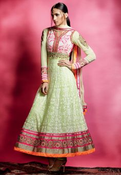 Light Green Faux Georgette Semistitched Abaya Style Churidar Kameez @ $162.88