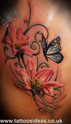 Women Back Tattoo, great flowers with butterfly