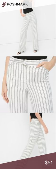 "White House Black Market Drama Stripe Pant Brand New With Tags  Sleek stripes provide a menswear touch to our wide-leg pants that are cut for a flowy, flattering fit. Finish off the look with a tucked-in top, sleek blazer and patent pumps for a leg-lengthening look. •	Stripe wide-leg pants sit at the waist. •	Polyester. Machine wash, cold. •	Approx. inseam:33"" regular  •	Petite: 29"" inseam. •	Imported.  https://www.whitehouseblackmarket.com/store/product/Stripe+Wide-Leg+Pants/570171006 White…"