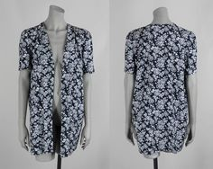 Vintage 80s Blazer / 1980s Black and White Floral Short Sleeve Boyfriend Jacket One Size by FloriaVintage on Etsy